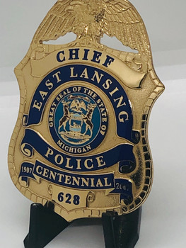EAST LANSING MICHIGAN POLICE CHIEF CENTENNIAL BADGE 2007 OBSOLETE