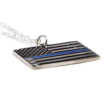 THIN BLUE LINE AMERICAN FLAG NECKLACE