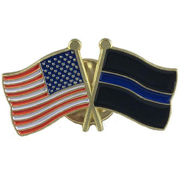 Thin Blue Line Flag and American Flag Pin