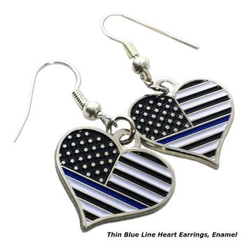 THIN BLUE LINE HEART EARRINGS, ENAMEL