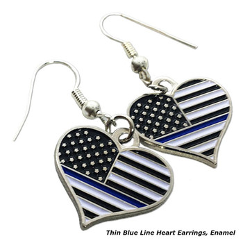 THIN BLUE LINE HEART EARRINGS, ENAMEL