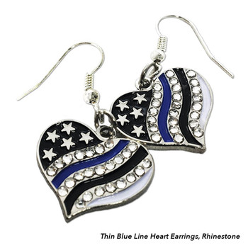 Thin Blue Line Heart Earrings, Rhinestone