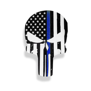 PUNISHER THIN BLUE LINE AMERICAN FLAG STICKER