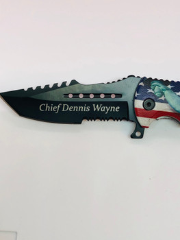LADY LIBERTY & AMERICAN FLAG  Assisted Knife •