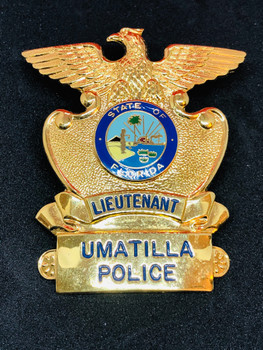 UMATILLA FLORIDA POLICE LIEUTENANT CAP BADGE RARE