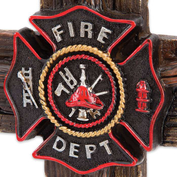 Firefighter Tribute Cross with Axes, Fire Department Seal Accents