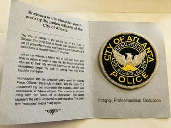ATLANTA GEORGIA POLICE PATCH WITH HISTORY CARD