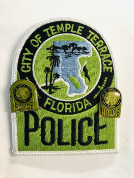 CITY OF TEMPLE TERRACE POLICE 2 LAPEL PINS AND FULL COLOR PATCH