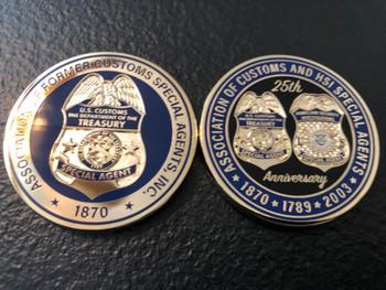 US CUSTOMS 25TH ANNIV. COIN