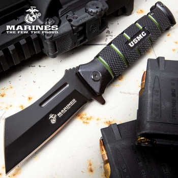 USMC Combat Cleaver Assisted Opening Pocket Knife