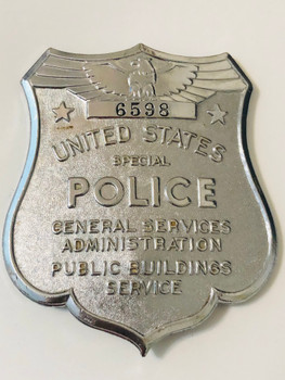 US GSA GENERAL SERVICES ADMIN POLICE BADGE # 6598