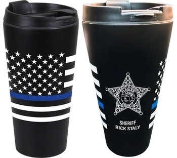 FLAGLER THIN BLUE LINE FLAG TRAVEL CUP