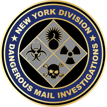 US POSTAL NY Div. Dangerous Mail PLAQUE