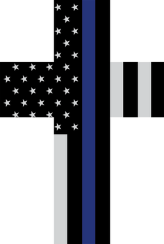THIN LINE FLAG CUSTOM CROSS PLAQUE - NON-DISTRESSED