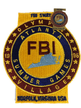FBI OLYMPICS 1996 POLICE PATCH & PIN