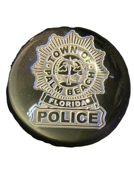 PALM BEACH POLICE FL DOMED PAPERWEIGHT FREE SHIPPING!