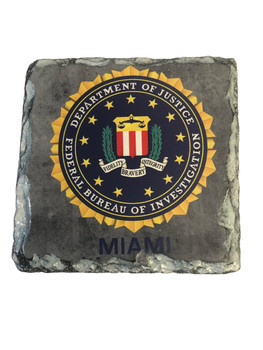 "FBI SEAL MIAMI  SLATE SQUARE 3.5"" Square Coaster"