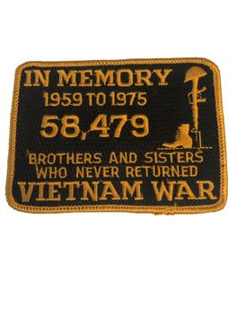 IN MEMORY OF VIETNAM WAR PATCH