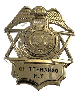 CHITTENANGO NY POLICE HAT BADGE
