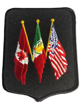 3 COUNTRY FLAGS CANADA MEXICO AND USA PATCH