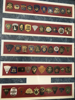 50 STATE POLICE PATCH PINS MOUNTED FRAMED