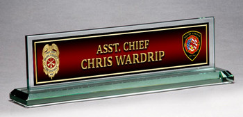 GLASS FIRE NAME PLATE