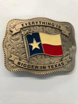 STATE OF TEXAS FLAG BRONZE TONE BUCKLE