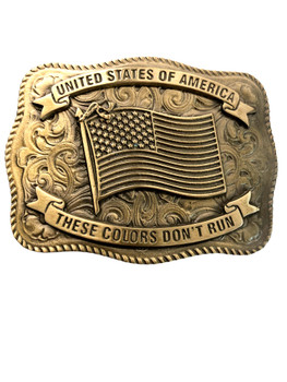 UNITED STATE OF AMERICA  FLAG BRONZE TONE BUCKLE