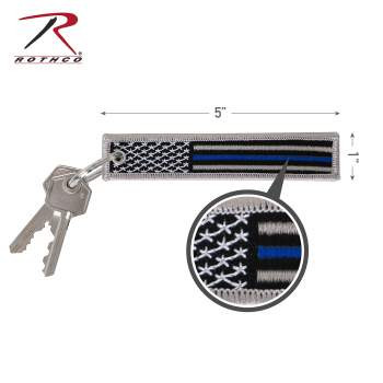 Thin Blue Line Flag Patch Keychain