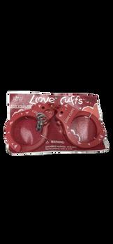 Love Cuffs Plastic Handcuffs Russ Valentine Day NEW Pair Sexy Red Heart Prisoner