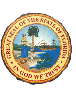FLORIDA STATE SEAL ON SLATE FULL COLOR