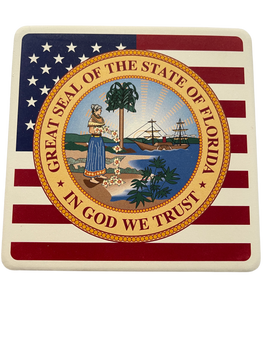 "SEAL OF FLORIDA FLAG Square Absorbent Stone Coaster - (4 1/4""x4 1/4"")"