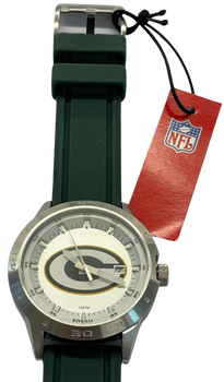 GREEN BAY PACKERS Fossil Watch Mens Three Hand Date Silicone*RARE*