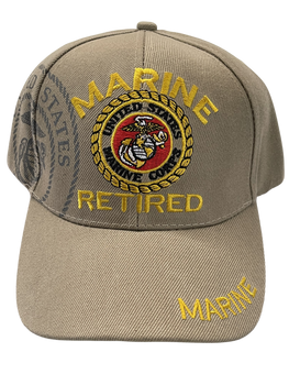 RETIRED MARINE CORPS SEAL HAT KAKI