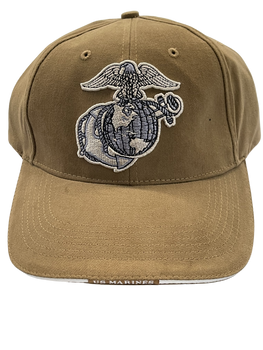 MARINE CORPS KAKI HAT EAGLE GLOBE & ANCHOR BRIM WORDS