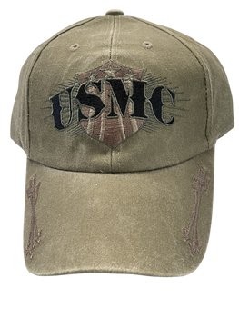 MARINE CORPS DRAB HAT USMC WORDS ARROWS ON BRIM