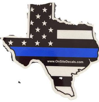 TEXAS BLUELINE STATE DECAL SILVER