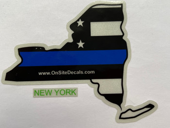 NEW YORK STATE BLUELINE DECAL SILVER
