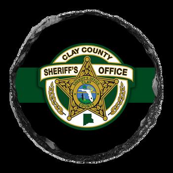 "Clay Sheriff 4"" Round Slate Coaster"