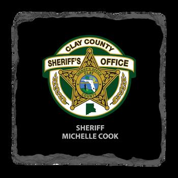 "Clay Sheriff 3.5"" Square Slate Coaster"
