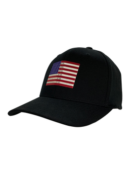 FLEX FIT American Flag Hat-Metallic Emblem