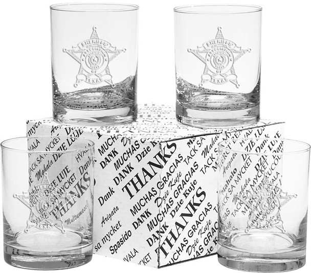 4 pack of 14 oz Glassware with Sheriffs of Texas Logo etched