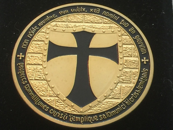 DOUBLE MOUNTED KNIGHTS TEMPLAR MASON COIN GOLDTONE BLACK