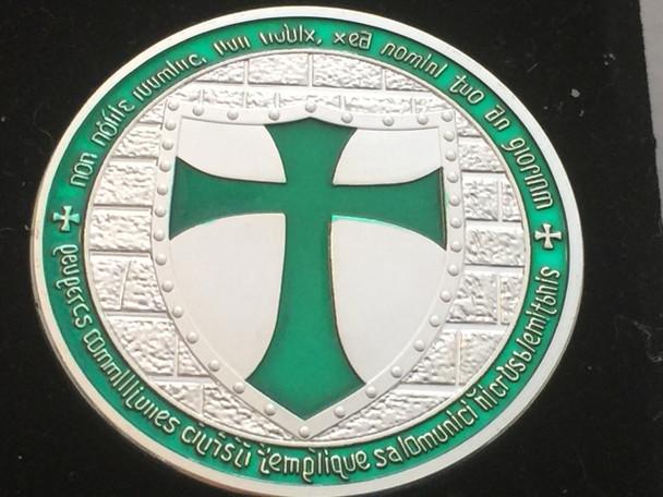 DOUBLE MOUNTED KNIGHTS TEMPLAR MASON COIN SILVERTONE GREEN