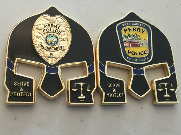 PERRY POLICE FL WARRIOR  BLACK FACE COIN
