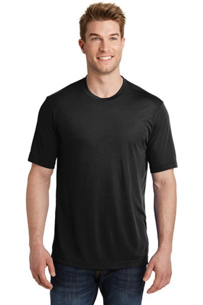 Moisture-Wicking Performance Black T-Shirt with Emblem