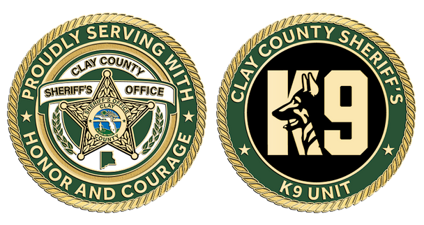 """Clay Sheriff K9 Unit 1.75"""" Coin"""