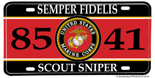 US Marines MOS 8541 Scout Sniper License plate