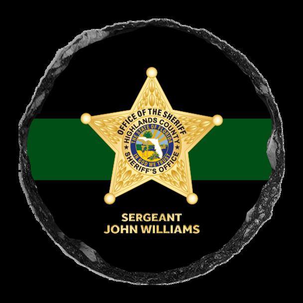 """Highlands Sheriff 4"""" Round Slate Coaster"""
