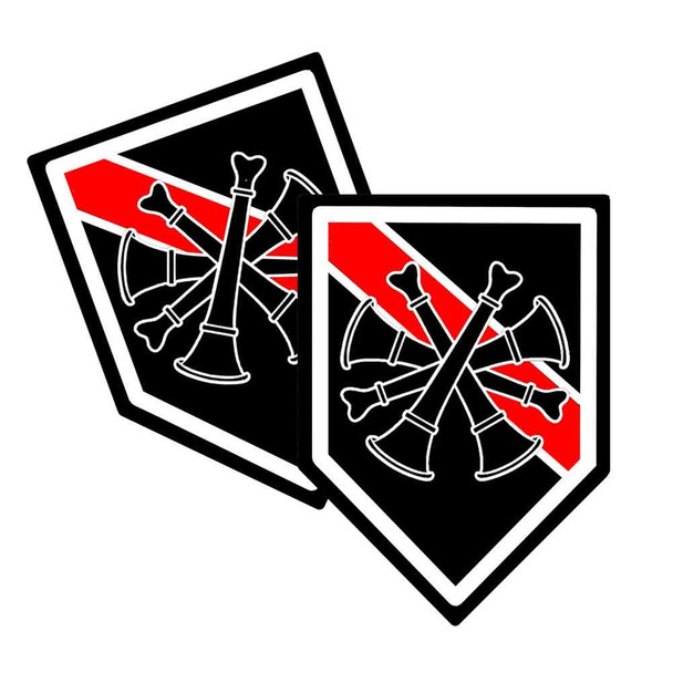 Thin Red Line Spout Unit Shield Shaped Decal Package of 4